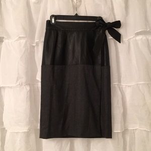 Real leather and wool combo skirt with tie. J Crew